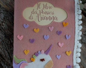 Diario personalizzato-personalized diary-felt journal-Libro dei pensieri-Unicorn handcover journal