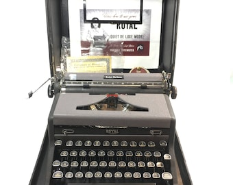 Typewriter Royal Quiet Deluxe With Case and Key Instruction Manual and New Ribbon Industrial Design Portable Tested Working Made USA