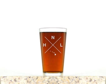 Honolulu Glass | Honolulu Pint Glass - Beer Glass - Pint Glass - Beer Glasses - Pint Glasses - Beer Mug - Honolulu Hawaii