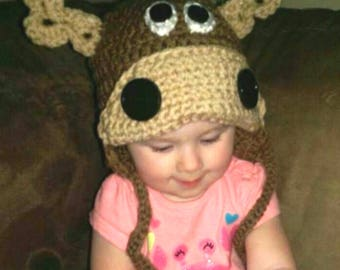 Crochet Moose hat for baby or toddler child baby hat moose hat animal hat