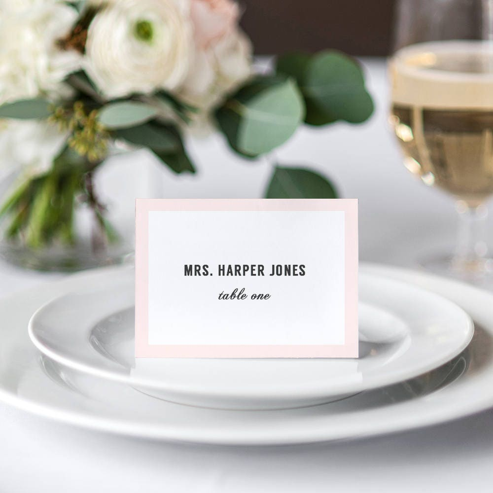 Modern wedding table name place cards with or without border for Ideas for wedding place cards table