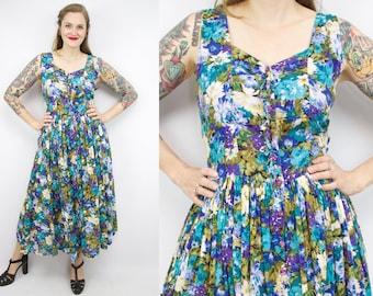 Vintage 90's Blue Floral Watercolor Midi Dress / 1990's  Dress / Indian Cotton / Sleeveless / 50's Sundress / Women's Size Plus Size 1X
