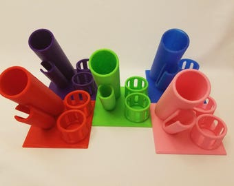 Compact 3D printed custom designed e-cigarette ecig vape holder organizer stand e-juice storage small size for desk end table or night stand