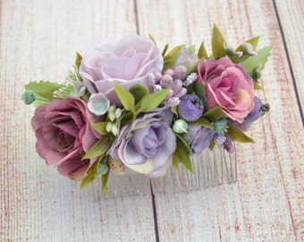 Birthday gift Bridal hair comb Dusty pink Dusty purple hair accessories Flower girl Wedding comb Bridal comb Flower hair Beach wedding hair