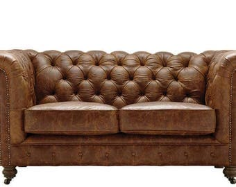 Incroyable Classic Chestnut Brown Leather Distressed Vintage Chesterfield 2 Seater Sofa.  British Handmade. Top Quality