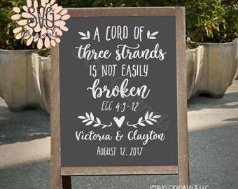 Wedding Quote SVG File. Cricut Explore & more. A Cord Of Three Strands Is Not Easily Broken Wedding Sign Customizable Engaged Bible SVG