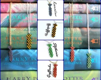 Hogwarts House Tie Necklaces, Harry Potter Fan Jewelry, Gryffindor Ravenclaw Slytherin and Hufflepuff Handmade Beaded Tie Necklaces