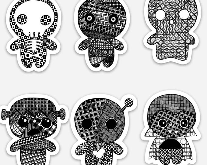 Spooky character stickers