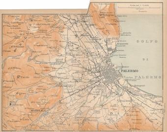 1913 Palermo Sicily Italy Antique Map