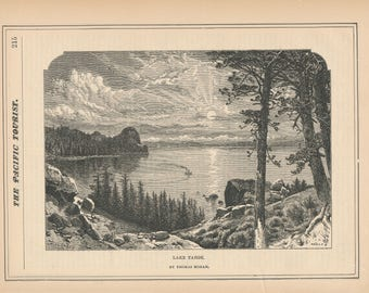 1881 Lake Tahoe Antique Print