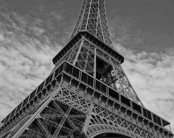 Black and white 'Portrait of the Eiffel Tower'' Paris Photography Print - travel photography print - Paris -  Eiffel Tower -  fine art print