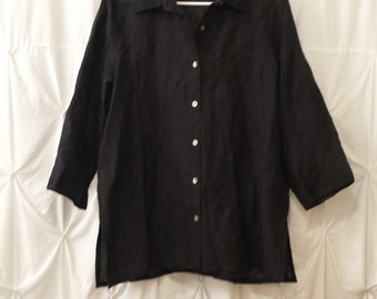 Size L, Ladies Black Sheer Long Sleeve Blouse with Black Embroidery