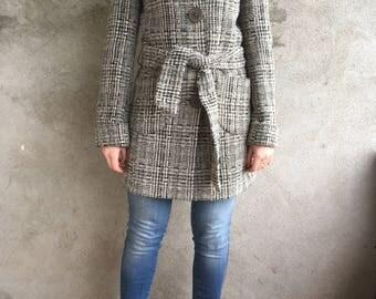 VTG Wool Coat 90's, Plaid Jacket, Fit & Flare Coat, Wool Jacket, Vintage Plaid Coat size 36 EU, S, XS