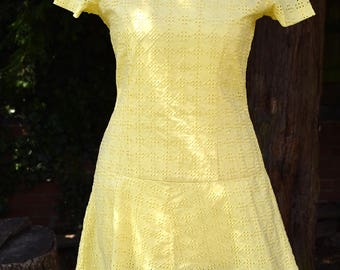 Vintage 1960s Brodraise Anglais Skater Twiggy Mini MOD Scooter Summer Dress