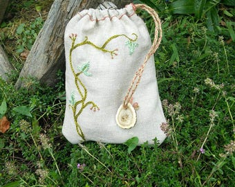 Ivy hand embroidered pouch / / tarot or runes storage pouch