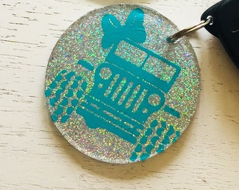 Glitter Jeep Inspired Keychain