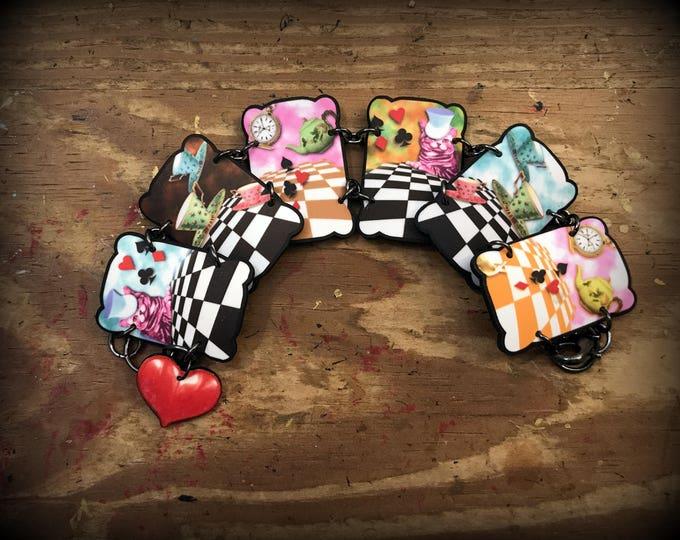 Alice in Wonderland Bracelet - Through the Looking Glass - Alice in Wonderland Bracelet - Alice - Jewelry - Wonderland Jewelry - Shrink Art