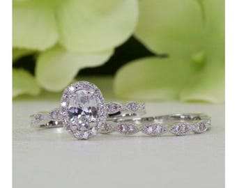 1.00 Ct. Halo Art Deco Style Oval Fine Quality Cubic Zirconia Engagement  Ring Set In