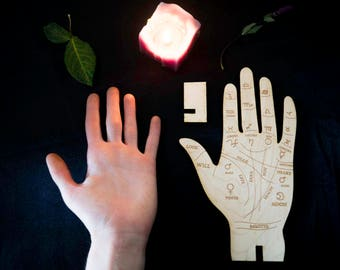 Palmistry Hands Standing Divination Palm Reading Wooden Etched