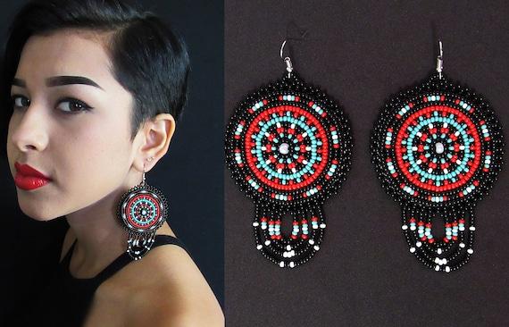 Boho Native American Style Beaded Earrings, Tribal High Fashion Earrings, Beaded Boho Earrings, Native Beaded Earrings, Leather Backed