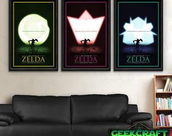 Legend of Zelda, Zelda Art, Zelda Prints, Zelda, Link, Zelda Poster, Ocarina, Time, OOT, Kokiri, Zora, Goron, RPG Classic Style Print Set