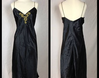 Etienne Black Satin Nightgown with Gold Embroidered and Beaded Flourish - Size XL