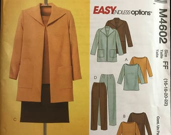 McCalls M4602 - Easy to Sew Separates Jacket, Top, Tunic, Pants and Skirt - Size 16 18 20 22