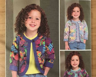 Butterick B4055 - Just Jennifer Toddler's and Girl's Jacket with Contrast Bands and Assorted Patches - Size 4 5 6