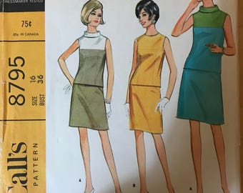 McCalls 8795 - 1960s Jewel Neck or Stand Up Collar Sleeveless Top with Contast Yoke and Knee Length Skirt - Size 16 Bust 36