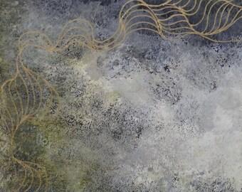 """Acrylique / Aquarelle sur papier """"Abstract I"""" / Encadré / Abstrait / Oeuvre unique et originale de Géraldine Theurot"""