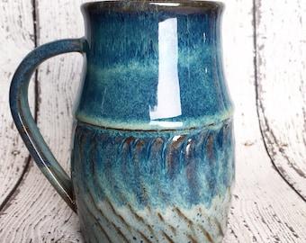 Handthrown Ceramic and Pottery Mug, brown clay cup, pottery coffee mug