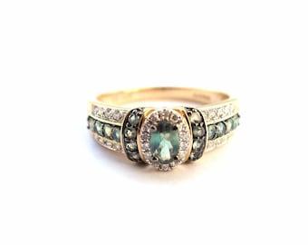 14K Yellow Gold Diamond And Tsavorite Ring - Elegant women's ring 1.10 carats