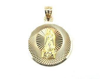 14K Yellow Gold Guadeloupe Pendant - Yellow Gold Spanish Saint Charm Pendant