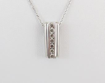 14k White Gold Diamond Necklace - Diamond Pendant Women's Necklace