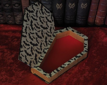 Coffin Jewelry Box Hollow Book Safe, Edgar Allan Poe, Magnetic Snap, Flocking, Library Decor, Goth