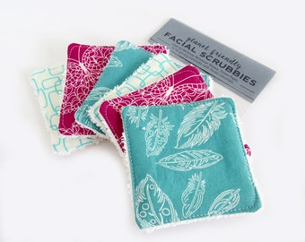 Face Scrubbies - Set of 6 - Flutter Feathers - Terry Cloth Skincare Wipes