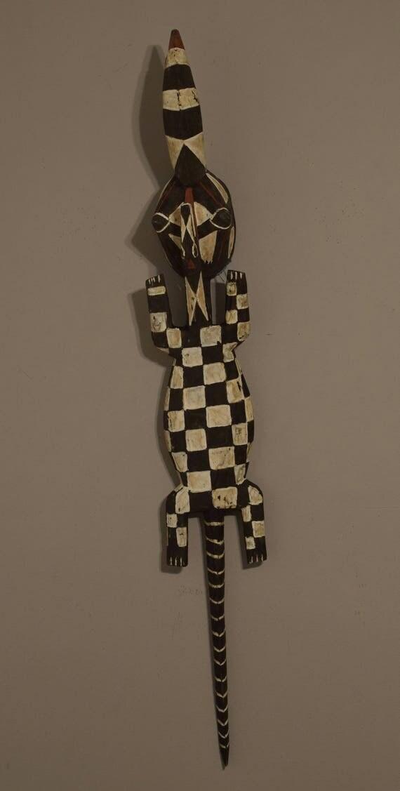 African Mask Hornbill Lizard Bobo Bwa Burkina Faso Handmade Spiritual Animal Mask Spirits Fertility Ceremonial Mask