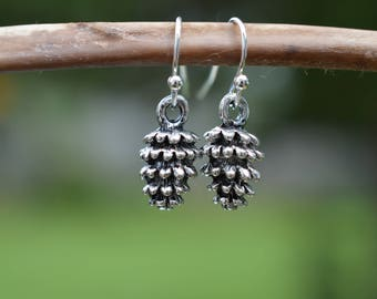 Antiqued Silver Pinecone Earrings