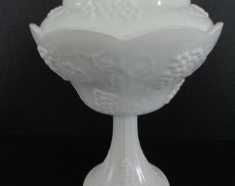 Vintage Indiana Glass Colony Harvest Grape Milk Glass Pedestal Covered Compote