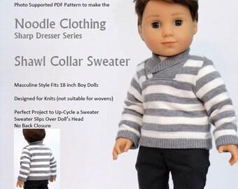 """18 inch Boy Doll Clothes PDF Pattern.  Noodle Clothing """"Shawl Collar Sweater"""" PDF Pattern fits 18 inch boy Dolls such as  Logan Everett®"""