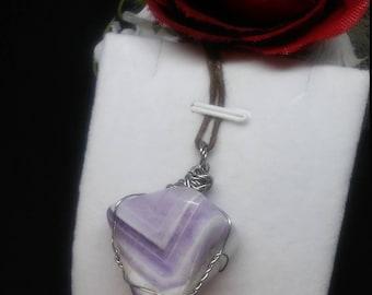 Wire wrapped purple Chevron Amethyst crystal pendant