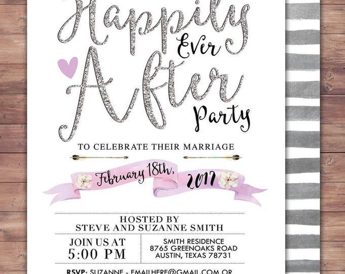 Happily ever after invitation, BOHO wedding shower Invitation, couples shower, arrows, Tribal, wedding, bridal shower invitation