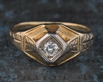 SALE! Antique Engagement Ring-Art Deco Engagement Ring-1920s Engagement Ring-Unique Engagement-Deco Diamond-Egyptian Revival-Deco Ring