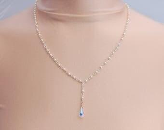Sterling Silver Swarovski Pearl & Crystal Drop Necklace