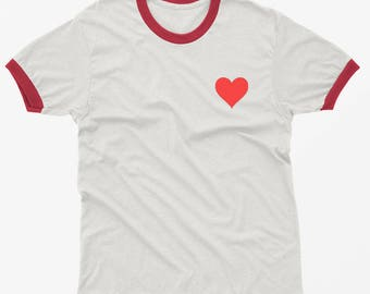 Valentines gift Love Heart shirt pocket ringer tee funny tshirt graphic tee tumblr shirts with sayings gift for women t-shirts
