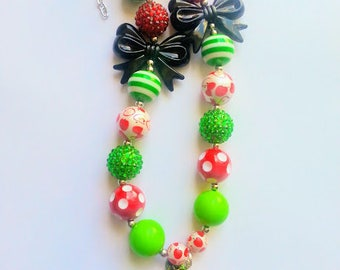 Back to School Necklace, Bracelet and Hair Bow, Simple Bow, Birthday Gift, Christmas Gift, 1st Day of School, Kindergarten, Apple Accessory