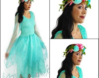Adult  Halloween Mint  Tulle Fairy Costume ~ Flower Crown ~ Day of the Dead ~ Renaissance  ~ Birthday Party ~ Dance ~ Theatre