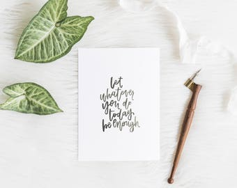 Hand Lettered Print | Enough