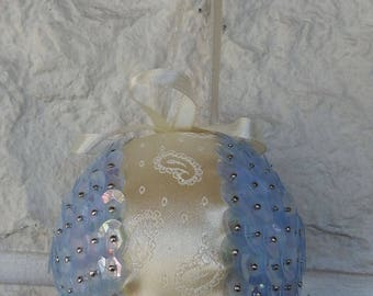 Handmade Light Blue Sequined And Cream Ribbon Christmas Tree Bauble - Free Shipping