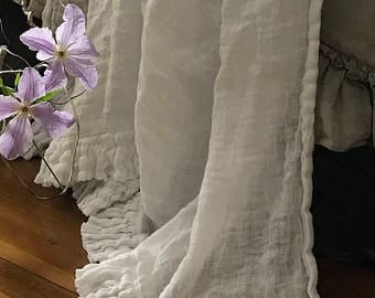 Linen blanket with ruffles Bed scarf Sisi.  Vintage style linen blanket throw. Shabby Chic bedding
